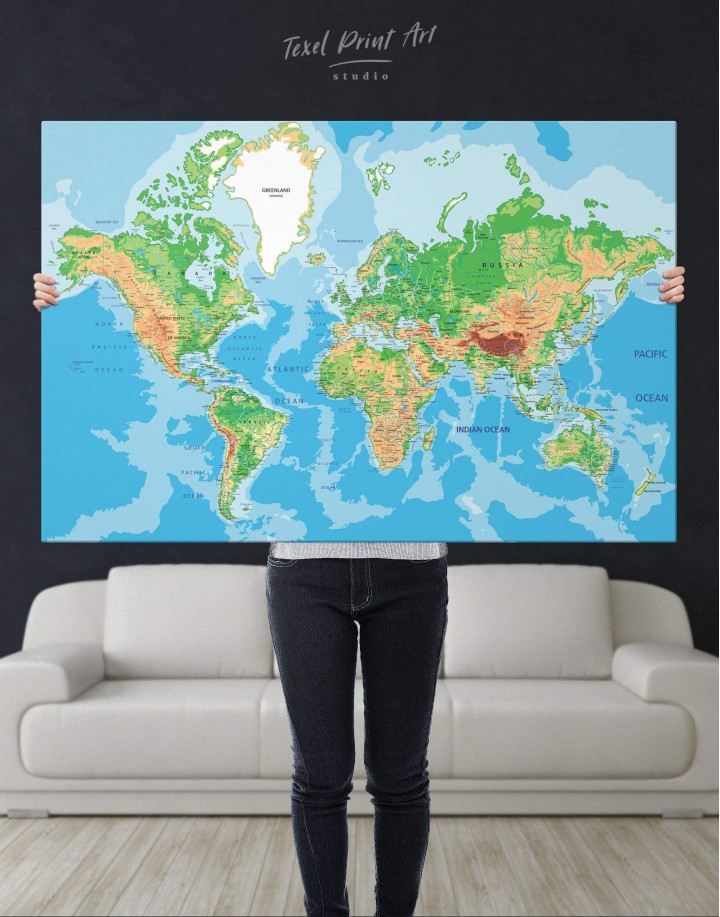 Physical Push Pin World Map Canvas Wall Art - Image 1
