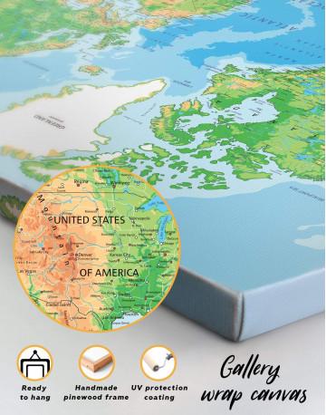 Physical Push Pin World Map Canvas Wall Art - image 6