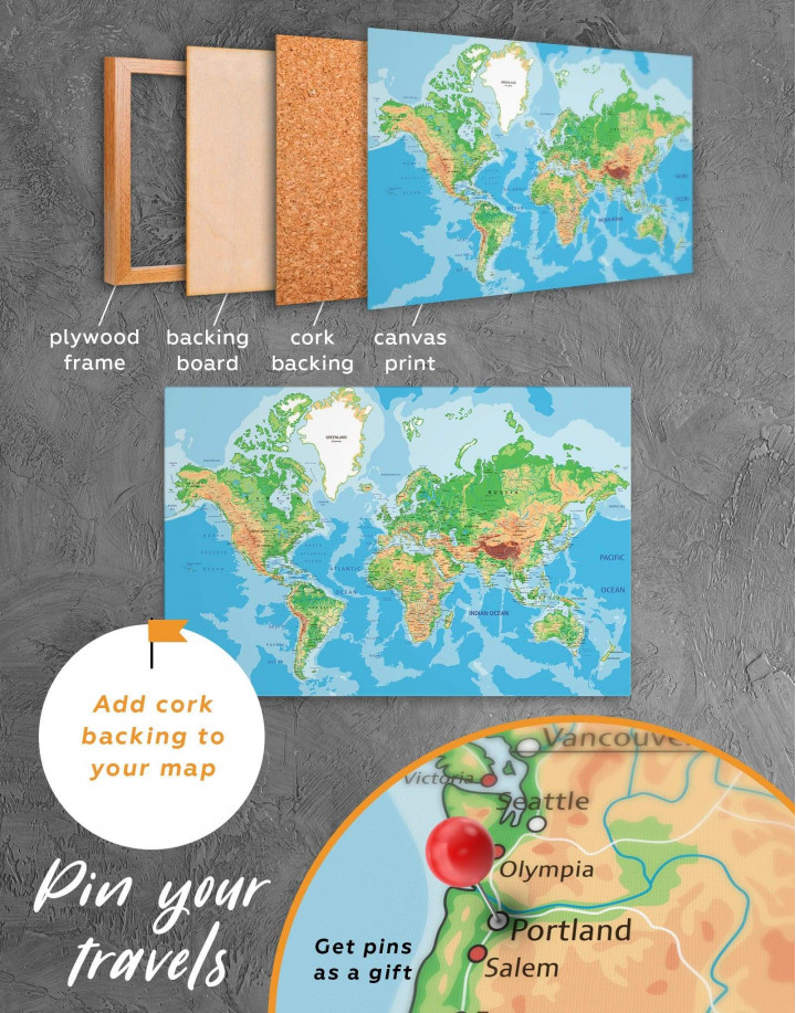 Physical Push Pin World Map Canvas Wall Art - Image 5