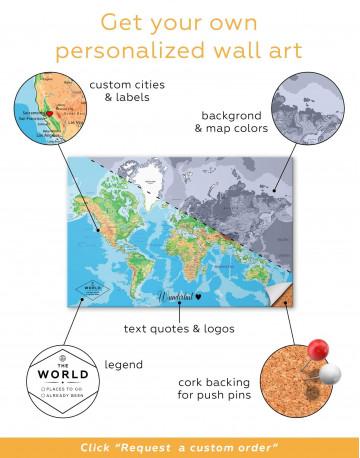 Physical Push Pin World Map Canvas Wall Art - image 4