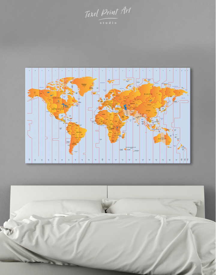 Time Zone World Map with Push Pins Canvas Wall Art - Image 8