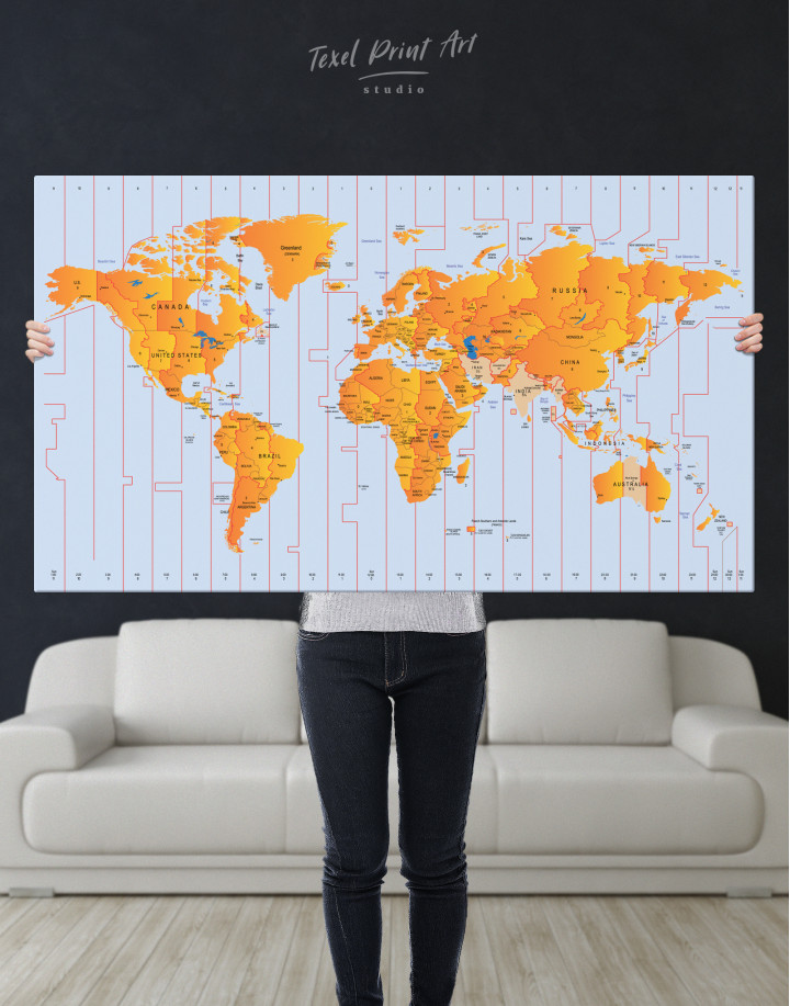 Time Zone World Map with Push Pins Canvas Wall Art - Image 6