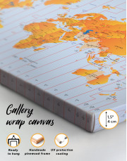 Time Zone World Map with Push Pins Canvas Wall Art - Image 4