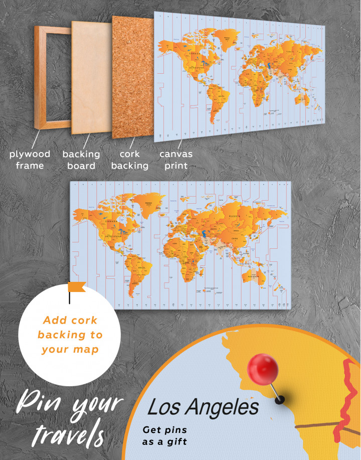 Time Zone World Map with Push Pins Canvas Wall Art - Image 3