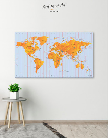 Time Zone World Map with Push Pins Canvas Wall Art
