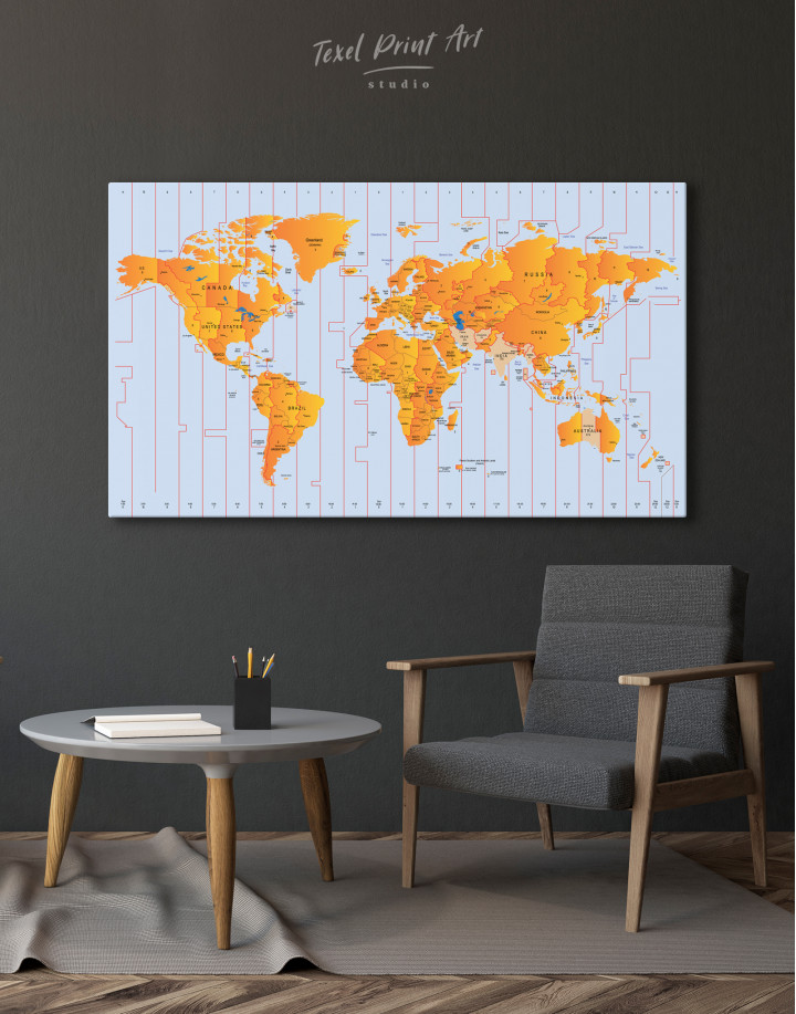 Time Zone World Map with Push Pins Canvas Wall Art - Image 7