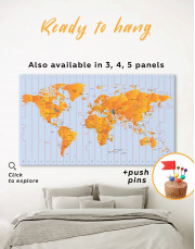 Time Zone World Map with Push Pins Canvas Wall Art - Image 5