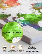 Watercolor Sightseeing Push Pin World Map Canvas Wall Art - Image 5