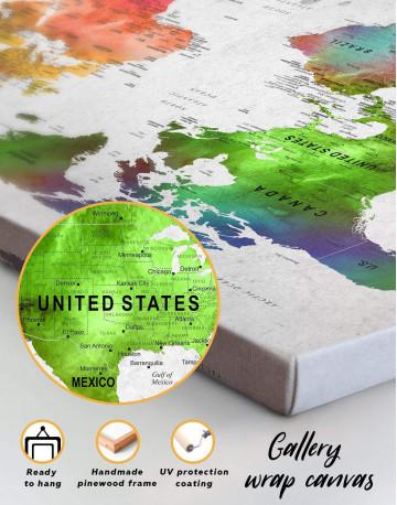 Watercolor Sightseeing Push Pin World Map Canvas Wall Art - image 1