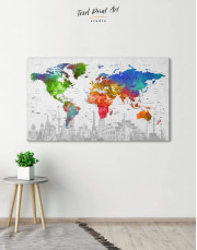 Watercolor Sightseeing Push Pin World Map Canvas Wall Art - Image 1