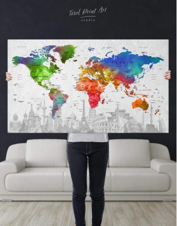 Watercolor Sightseeing Push Pin World Map Canvas Wall Art - image 4