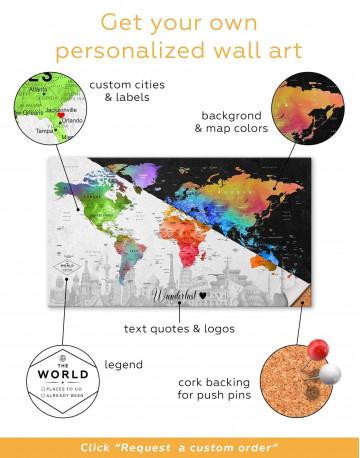 Watercolor Sightseeing Push Pin World Map Canvas Wall Art - image 2