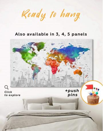 Watercolor Sightseeing Push Pin World Map Canvas Wall Art