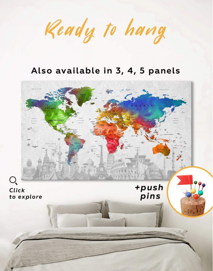 Watercolor Sightseeing Push Pin World Map Canvas Wall Art - Image 0