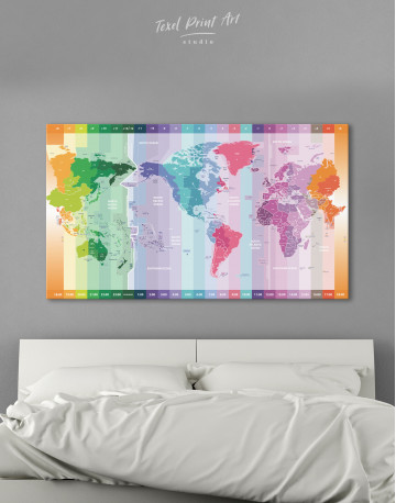 Multicolor Push Pin World Map with Time Zones Canvas Wall Art - image 4