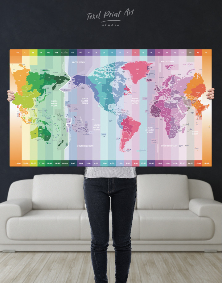 Multicolor Push Pin World Map with Time Zones Canvas Wall Art - Image 6