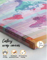 Multicolor Push Pin World Map with Time Zones Canvas Wall Art - Image 3