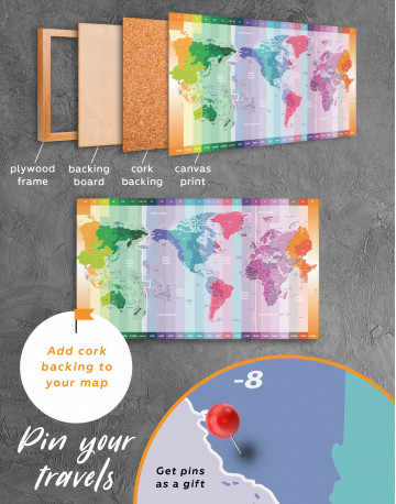 Multicolor Push Pin World Map with Time Zones Canvas Wall Art - image 1
