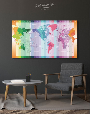 Multicolor Push Pin World Map with Time Zones Canvas Wall Art