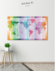 Multicolor Push Pin World Map with Time Zones Canvas Wall Art - Image 8