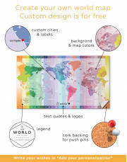Multicolor Push Pin World Map with Time Zones Canvas Wall Art - Image 7