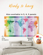 Multicolor Push Pin World Map with Time Zones Canvas Wall Art - Image 2