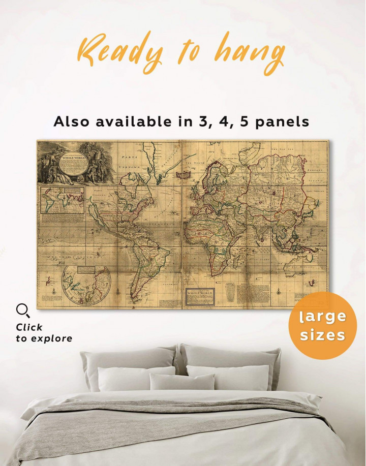 Old World Antique Map Canvas Wall Art - Image 3