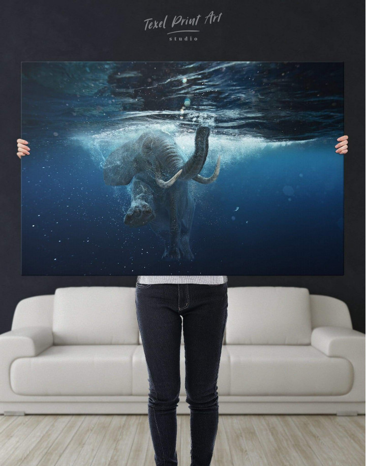 Underwater Elephant Canvas Wall Art - Image 5