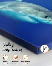 White Shark Ocean View Canvas Wall Art - Image 1