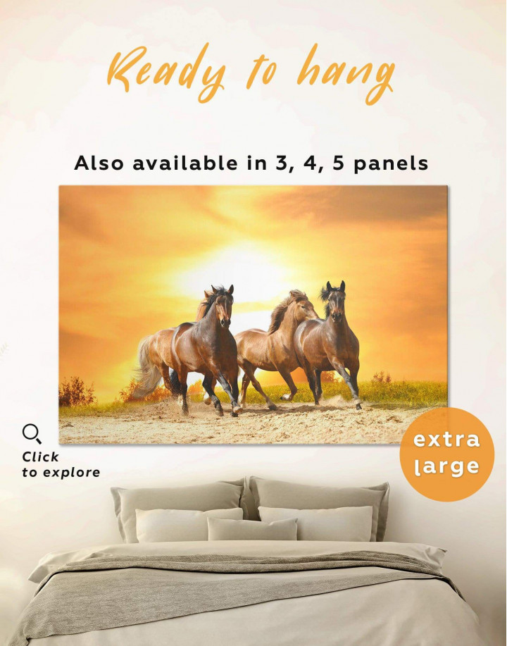 Running Wild Horses Canvas Wall Art - Image 0