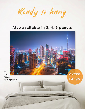Night Dubai Cityscape Canvas Wall Art