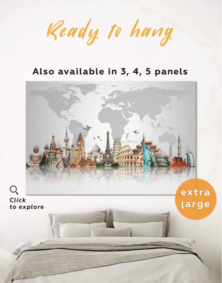 Large Abstract Grey World Map Canvas Wall Art - Image 0