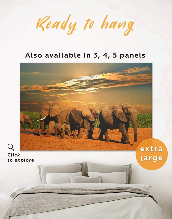 African Elephants Safari Canvas Wall Art - Image 0