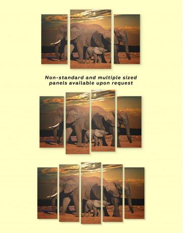 Sunset and Elephants Canvas Wall Art - image 1