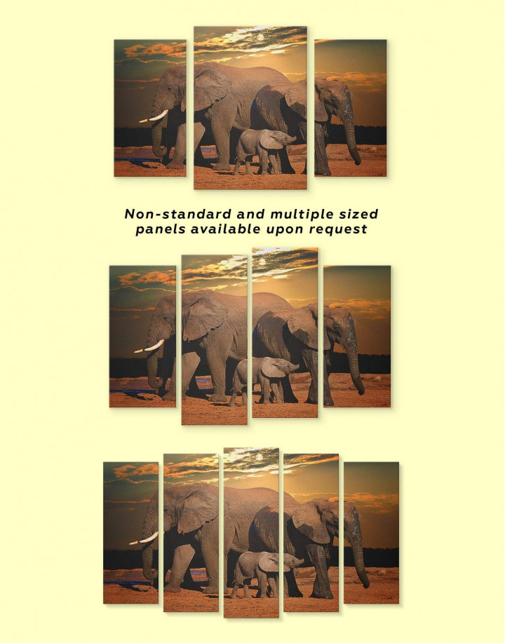 Sunset and Elephants Canvas Wall Art - Image 3