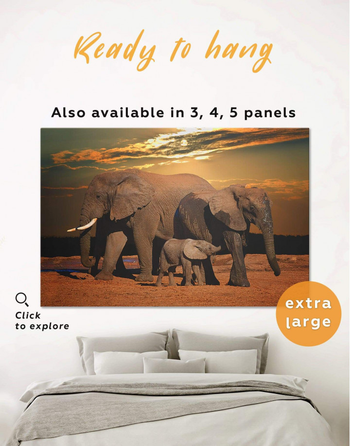 Sunset and Elephants Canvas Wall Art - Image 0