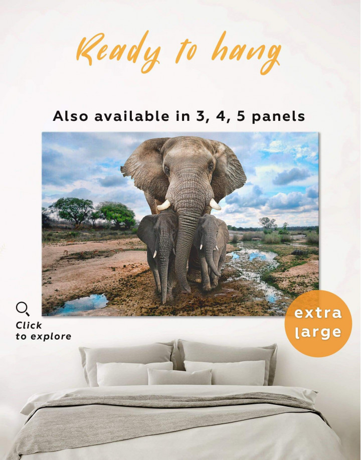 Savanna with Elephants Canvas Wall Art - Image 0
