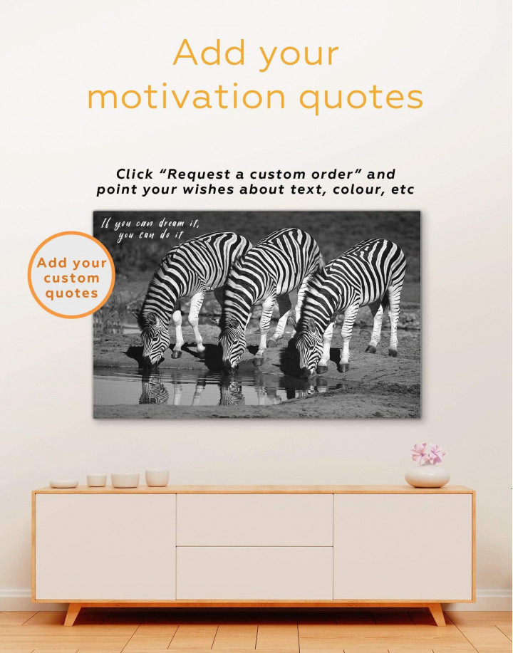 Black and White Zebras Canvas Wall Art - Image 2