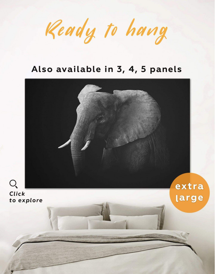 Elephant Black and White Canvas Wall Art - Image 0