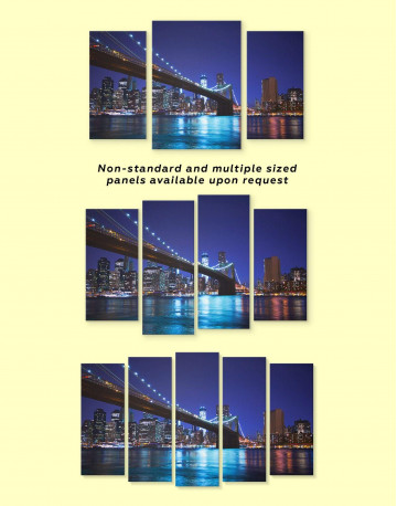 Night New York Brooklyn Bridge Canvas Wall Art - image 3