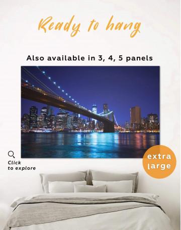 Night New York Brooklyn Bridge Canvas Wall Art