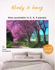 Japanese Cherry Blossom Trees Canvas Wall Art - Image 0