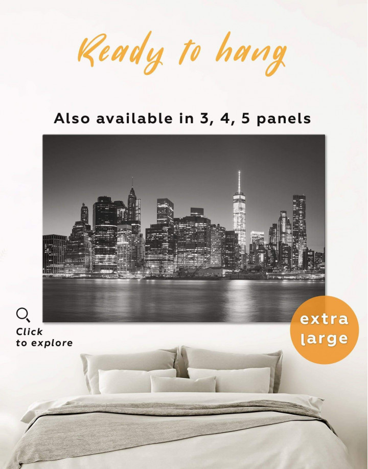 New York City Black and White Canvas Wall Art - Image 0