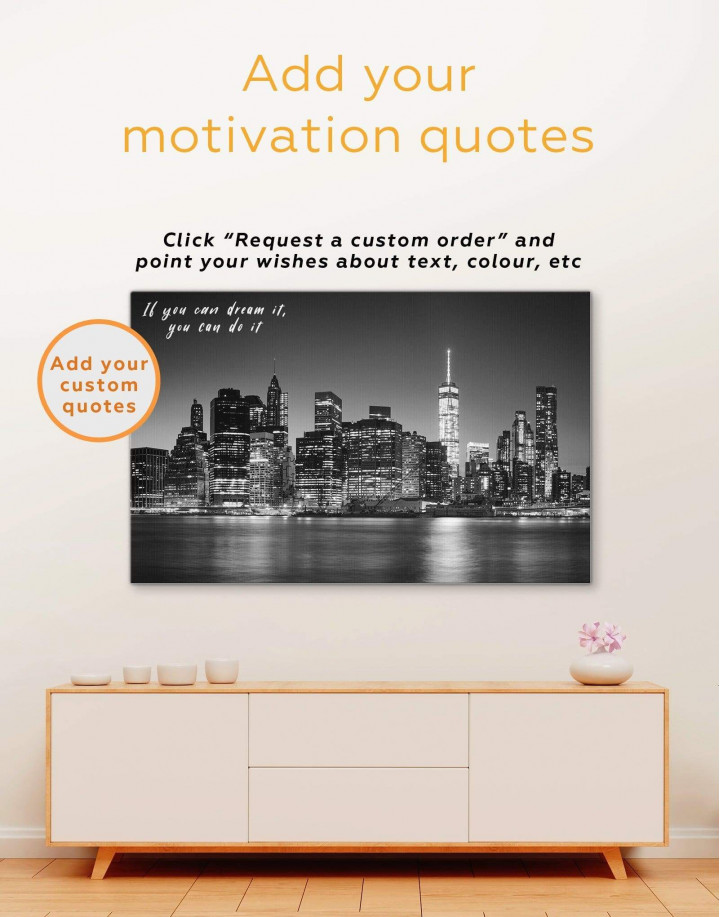 New York City Black and White Canvas Wall Art - Image 1