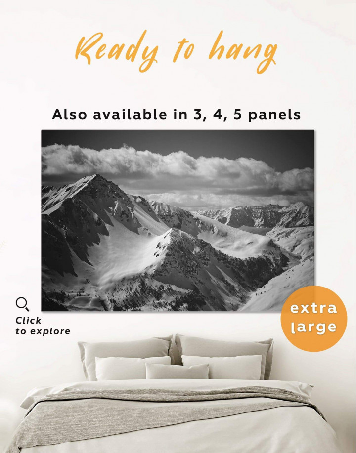 Black and White Mountains Canvas Wall Art - Image 0