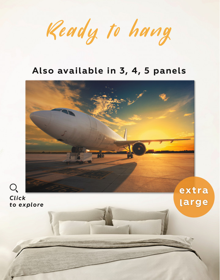 Sunset Airplane Airport Canvas Wall Art