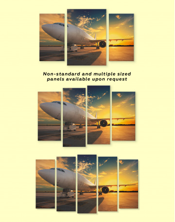 Sunset Airplane Airport Canvas Wall Art - image 3