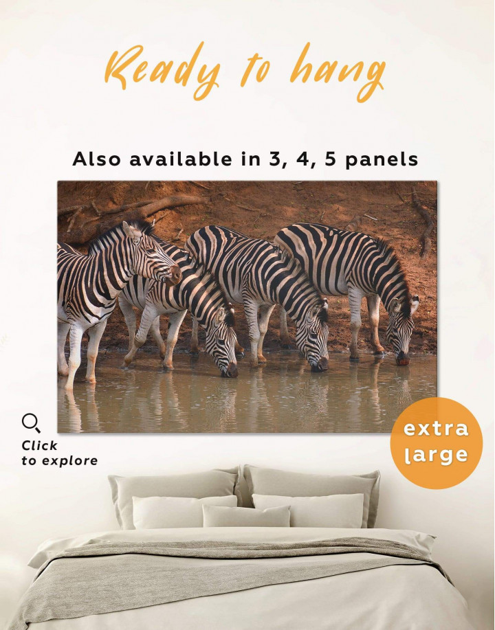 Wild Zebras Canvas Wall Art - Image 0