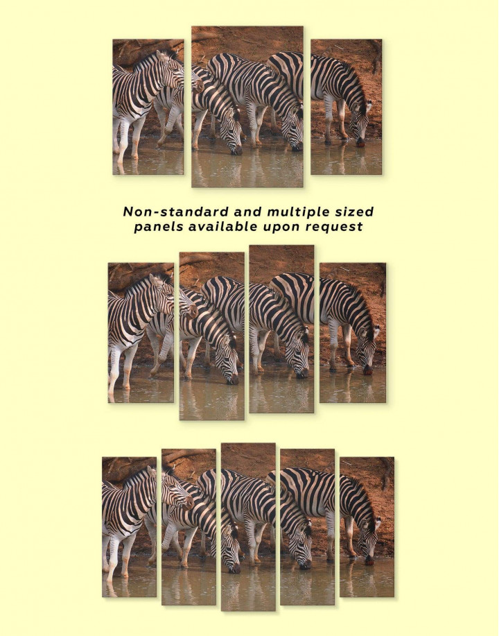 Wild Zebras Canvas Wall Art - Image 3