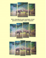 African Elephants in Water Canvas Wall Art - Image 1